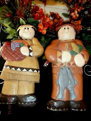 Thanksgiving Eddie Walker Indian Couple Tall Table Top Figures Set Of 2