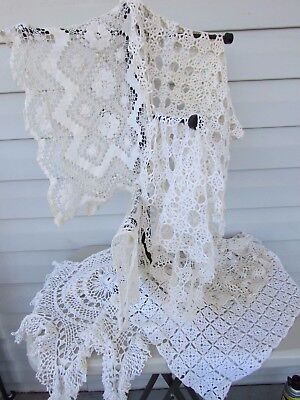 Vintage Crochet Doilies Lot Of 7 Lg Shabby Chic Lace Doilies Table Top Runners