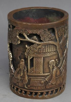 Marked Old Chinese brass Old man Playing chess pine Lucky Brush Pot Pencil Vase