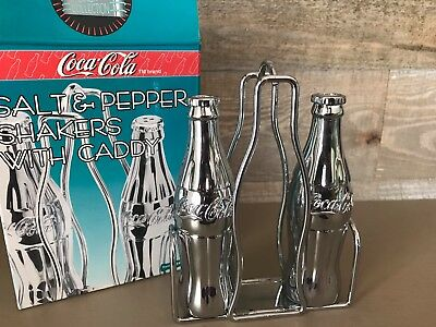 Coca Cola Salt & Pepper Shakers with Caddy Die Cast Chrome