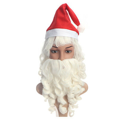 d80b35174803a Adult Christmas Fancy Santa Claus Wig + Beard Set Costume Party Dress  Accessory