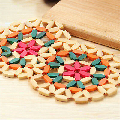 Round Bamboo Placemat Insulation Pads Coasters Hollow Wooden Pot Cup Mat R