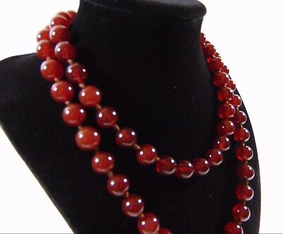 Beautiful Vintage Art Deco Cherry Amber Necklace Round Knotted Beads