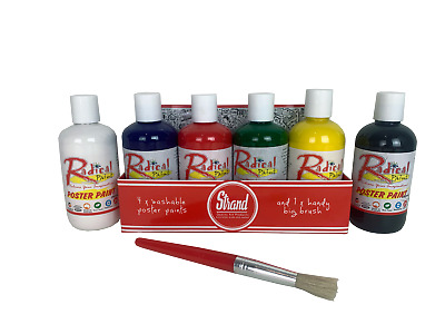 Radical Washable Poster Paint 6 x 250ml with brush Free Freight