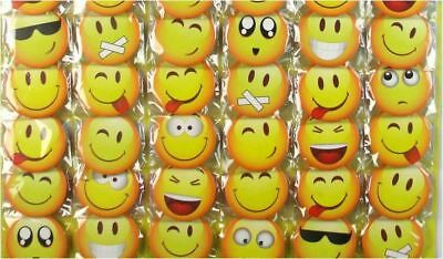 6pcs Emoji SmileFace 45mm Plastic Badge Brooch Pin Birthday Party Lolly Bag Gift