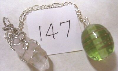 Green Bead & Natural Arkansas Crystal Pendulum Scrying~Dowsing~Divination p147