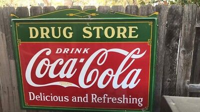 1930's Coca Cola Porcelain Drug Store Sign Soda Pepsi