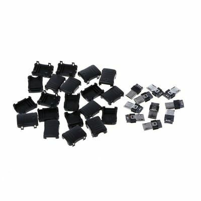 10 Sets Micro USB Male 5 Pin Plug Socket T Port Connector & Plastic DIY Cover