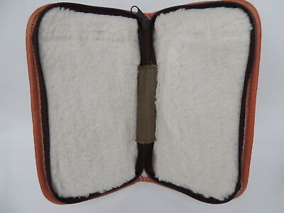 Large Canvas & Sheepskin Lined Fly Fishing Wallet / Case.