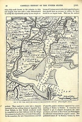 Map New York About The Middle Of The Eighteenth Century * Historical Memorabilia