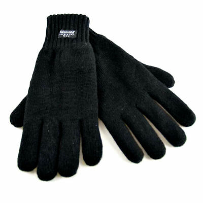 Rjm Mens Black Heatguard Thermal Thinsulate Knitted Winter Acrylic Gloves Gl130