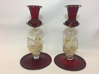 Pair Murano glass ruby & gold fleck Swan stem candle holders 1950s
