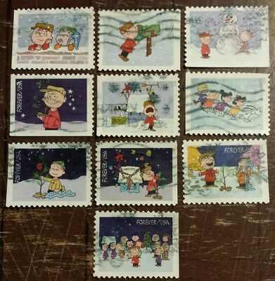Scott# 5021-5030 2015 Forever Peanuts Christmas Set Us Used Off Paper Collection