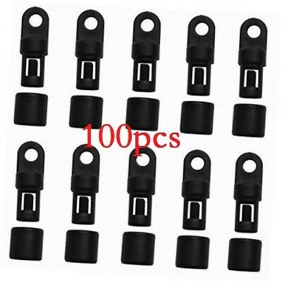"100 pcs 1/4"" shock cord hook fastener fixed terminal end tabbed s bungee hooks"