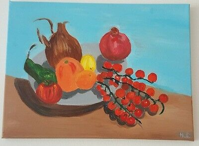 ORIGINAL STILL LIFE FRUIT ACRYLIC CANVAS SIGNED PAINTING SIZE 40x29 CM