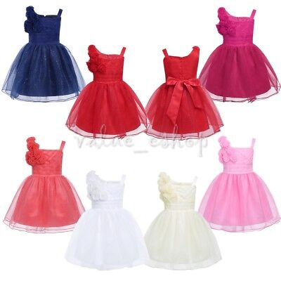 Baby Flower Girl Princess Dress Party Wedding Christening Glitter Pageant Dress
