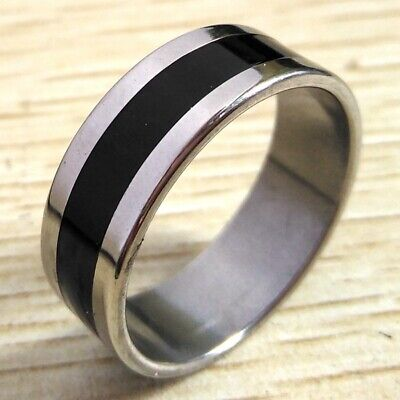 Wholesale lot 50x TOP Black enamel Band Rings Men's Stainless Steel Wedding Ring
