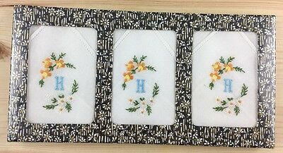 NEW Vintage 3 Pack Of Womens Embroidered Handkerchief Blue Monogram H Floral