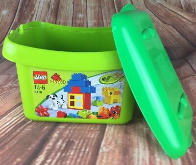 LEGO DUPLO 5416 Storage Bucket Container Tub Green - EMPTY with Lid