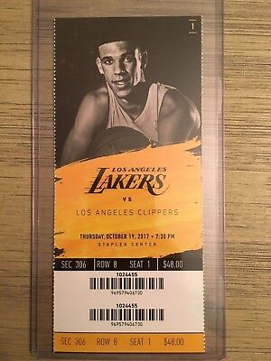 2017-18 Los Angeles Lakers NBA Official Mint Ticket Stubs - pick any game!