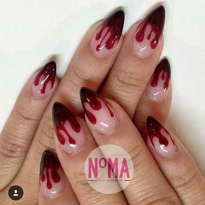 halloween red blood drip false nails hand painted rounded stiletto