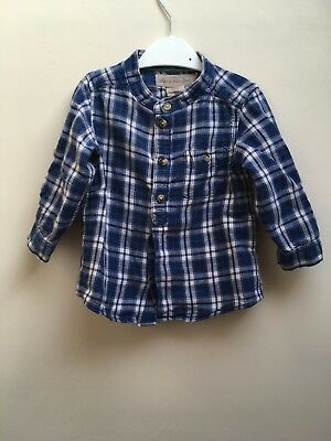 H&M Baby Boy Blue Checked Plaid Shirt (6-9 months)