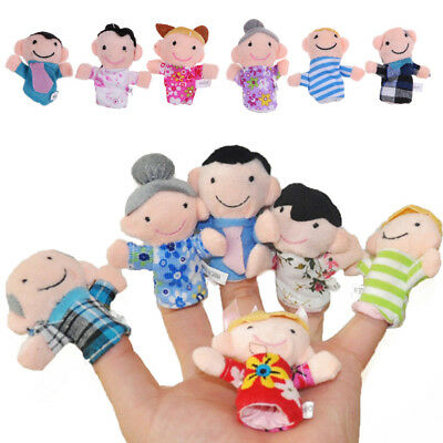 6Pcs Educational Family Finger Puppets Cloth Doll Cartoon Toys for Kids Baby