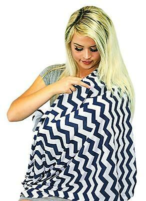 Nursing Scarf Cover Apron for Breastfeeding Baby Car Seat Canopy Maternity -Navy