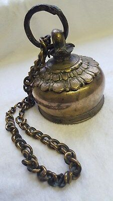 Vintage Solid Brass Elephant Bell With Chain