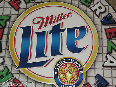 Very Large  Miller Lite Tin Beer Sign Cerveza Fria Spanish Mexico Puerto Rico
