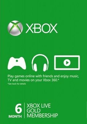 Xbox Live 6 Month Gold Membership Card For Microsoft Xbox 360 / Xbox One