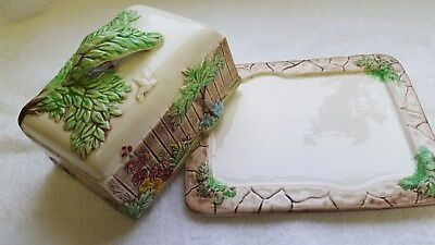 Antique  Weatherby Hanley Royal Falcon Ware Butter Dish Hand Painted