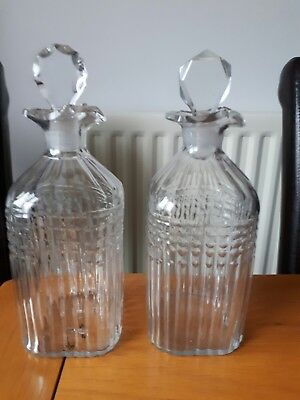 Victorian pair of small Decanters unusual ref10e