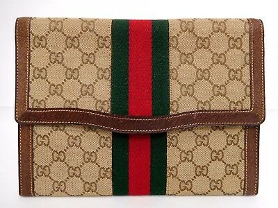 *Authentic Old GUCCI GG canvas Green Red Web Sherry line Flat Clutch bag Vintage