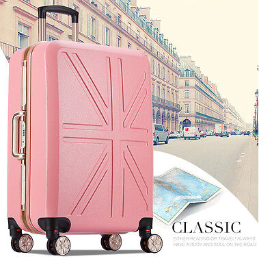 "24"" Pink Universal Wheel ABS+PC TSA Coded Lock Travel Suitcase Luggage Trolley"