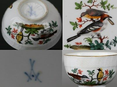 MEISSEN 18th, cup and saucer, decorated with birds quality museum