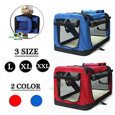 L/XL/XXL Fabric Soft Pet Crate Kennel Cage Carrier House Dog Cat Bag Blue/Red UK
