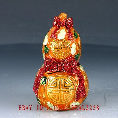 Chinese Cloisonne Handwork Carved Gourd-shaped Box Statue JTL070