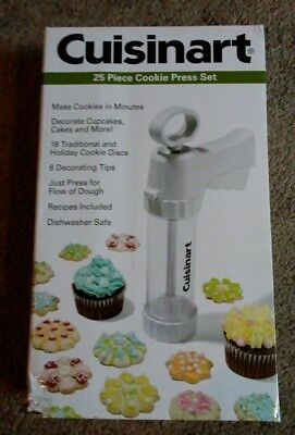 Cuisinart 25 Piece Cookie Press Set - 18 Discs and 6 Decorating Tips - New!