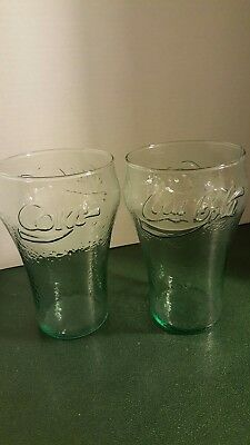 2 Vintage Coke - Coca Cola Light Green Dimpled Glasses 36oz. Raised Lettering
