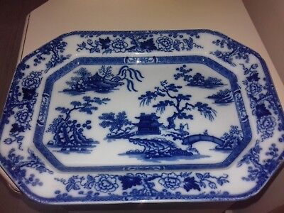 Large blue and white meat/serving dish vintage by Wridgway 15 inches x 11 inches