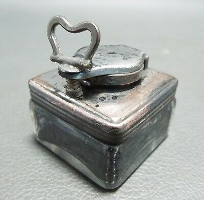 Antique lock down travelling inkwell - cut glass & silver plated on copper