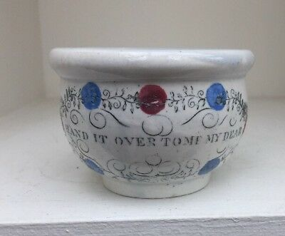 """Antique Staffordshire Pottery Miniature Chamber Pot """"Hand It Over To Me Dear"""""""