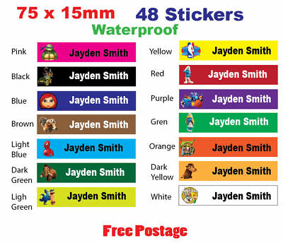 Personalized Name Labels Stickers for bags books school stationaries kids books