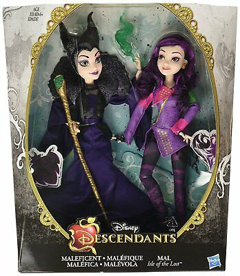 NEW Disney Descendants Isle of the Lost Mal and Maleficent Auradon Doll Set