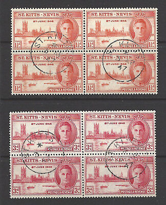 ST KITTS NEVIS KGVI 1946 SG#78/79 Victory Set. Used blocks of four