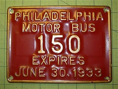 Philadelphia Motor Bus 1933 License Plate,  1933 Pennsylvania  License Plate