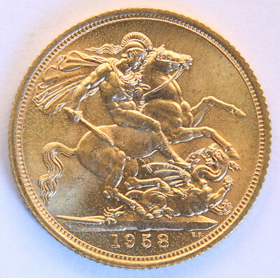 1958 Gold Sovereign - Queen Elizabeth II - BU