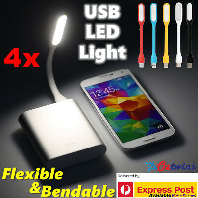 4x USB LED Light Bendable Flexible Lamp for Computer Laptop Camping Reading Car