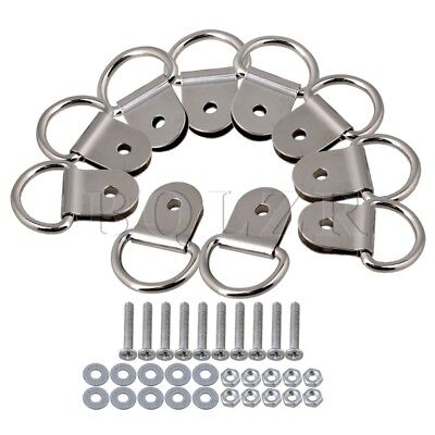 Iron D Ring Picture Hooks Hanger Single Hole Set of 10 Silver